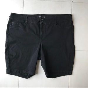 Torrid Black Cotton Stretch Bermuda Shorts
